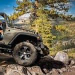 Happy Jeep Driver on Rugged Terrain