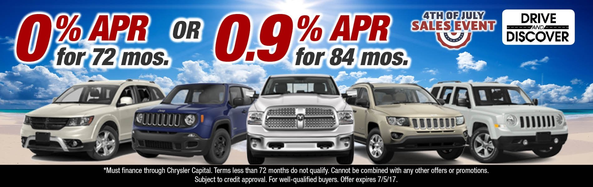 0% APR for 72 Months Or 0.9% APR for 84 Months