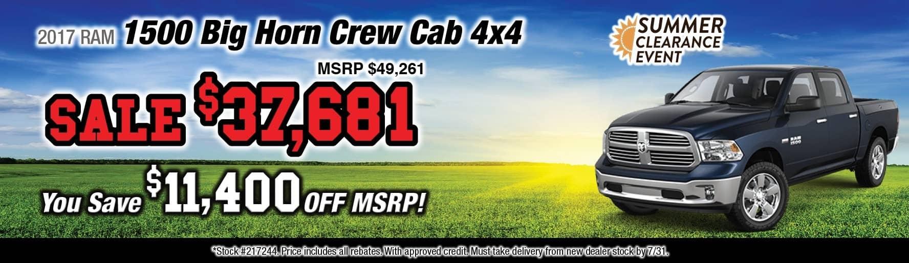 2017 RAM 1500 Big Horn Crew Cab 4x4