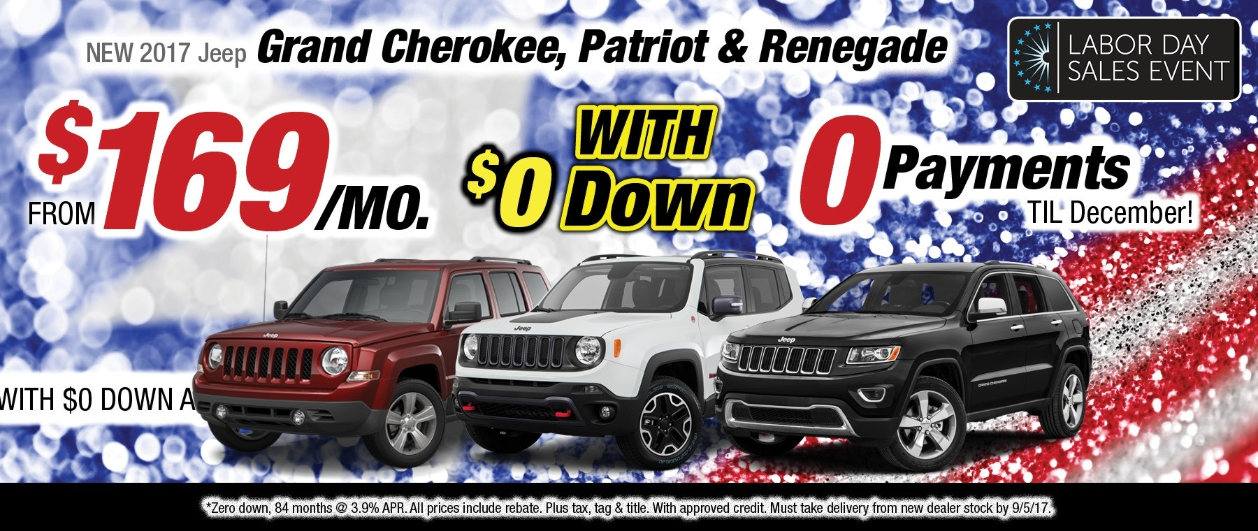 2017 Jeep Grand Cherokee, Patriot or Renegade Lease Special available at Thomson Jeep in Thomson, GA