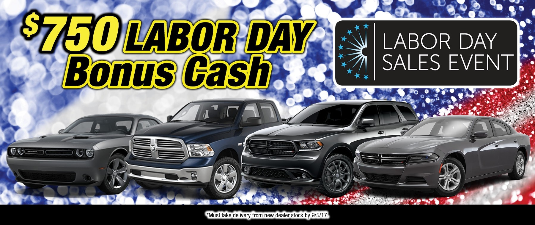 $750 Labor Day Bonus Cash available at Thomson Chrysler Dodge Jeep RAM in Thomson, GA