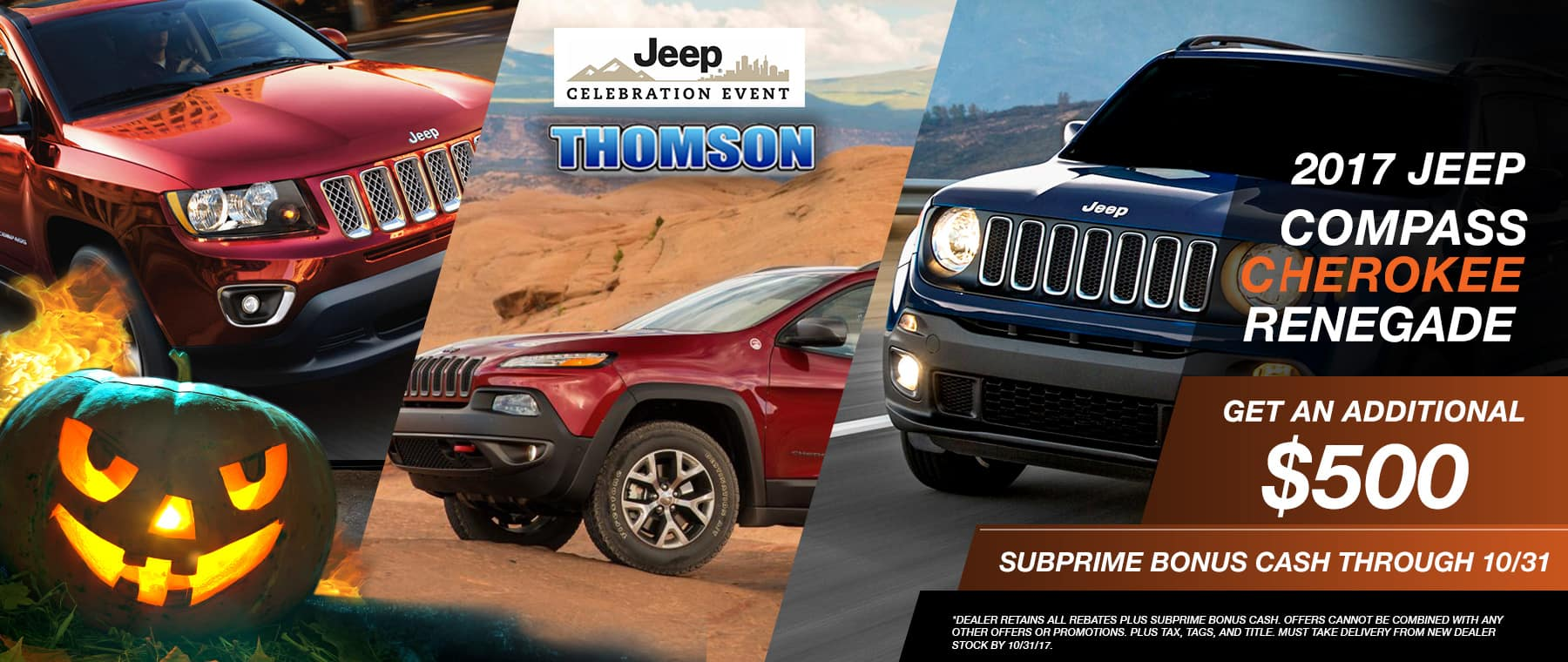 2017 Compass Cherokee and Renegade special at Thomson Jeep in Thomson, GA