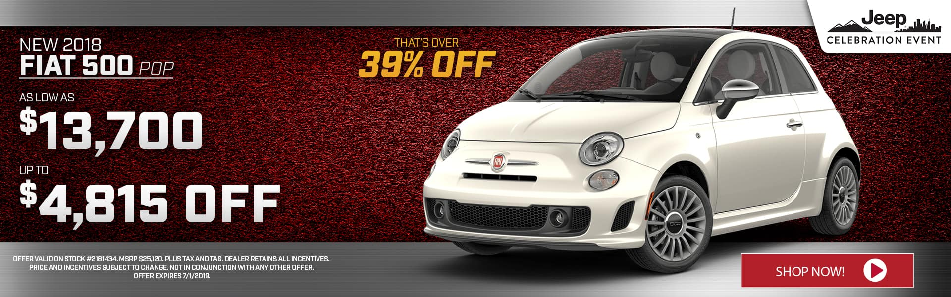 2018 FIAT 500 POP Special at Thomson FIAT in Thomson, GA