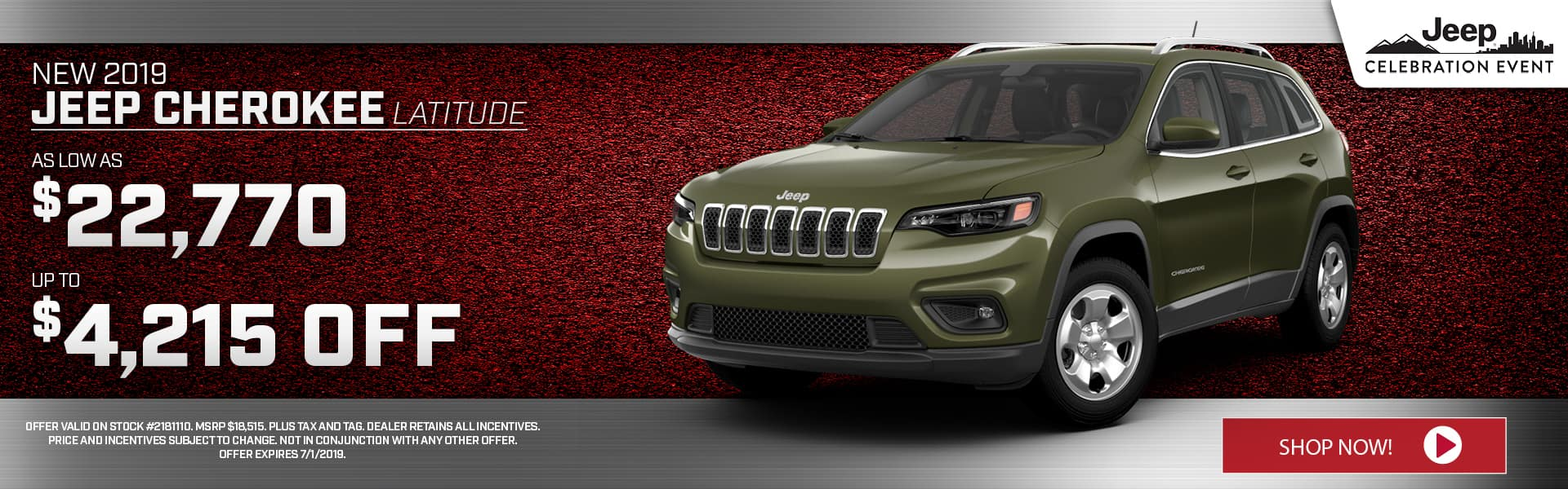 2019 Jeep Cherokee Special at Thomson Jeep in Thomson, GA