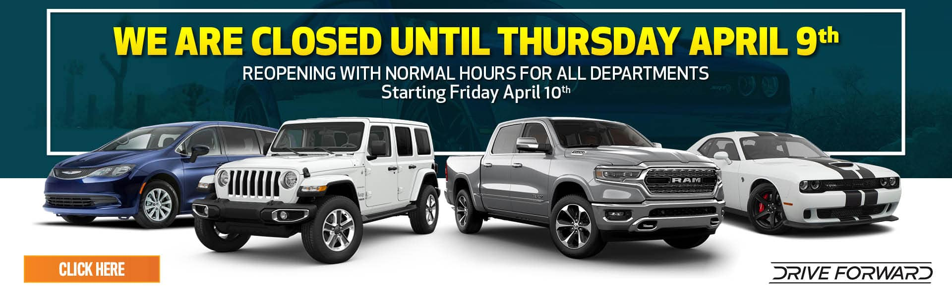 Thomson Chrysler Dodge Jeep RAM is Closed until April 9th