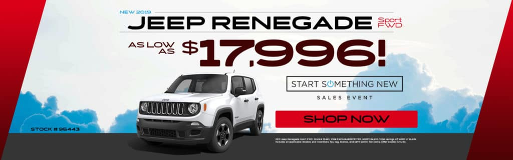 New 2019 Jeep Renegade Sport FWD - As Low As $17,996!