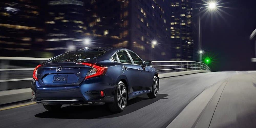 Blue 2020 Honda Civic on Highway