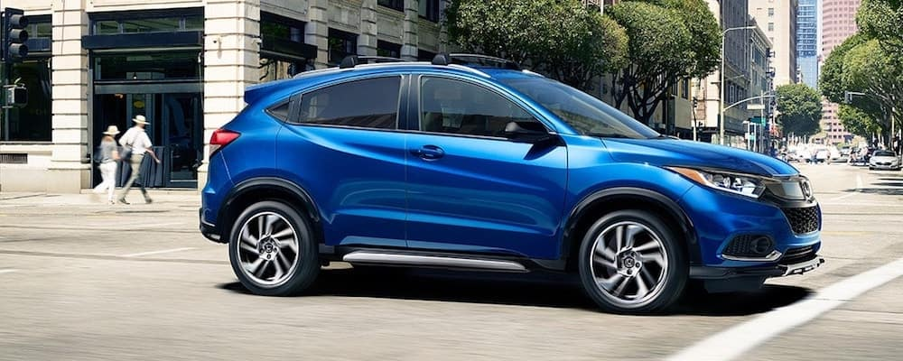 Blue Honda HR-V on City Street