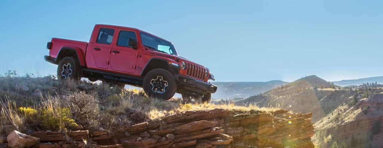 2020 Jeep Gladiator off road on cliff