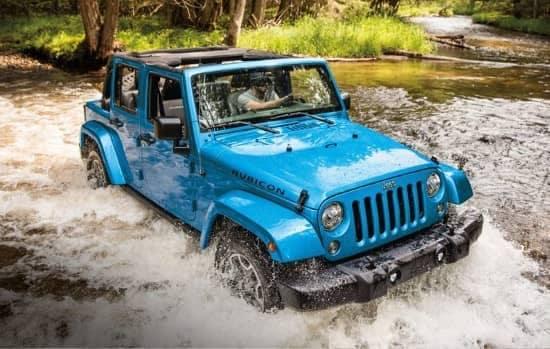 Jeep Wrangler wading through water