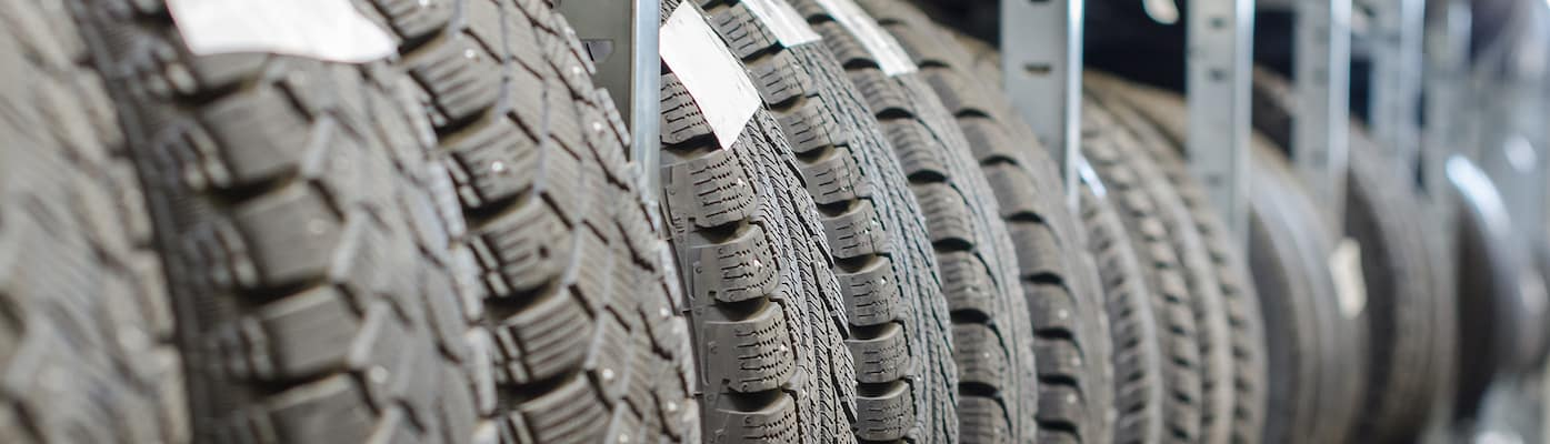 Tires Lined Up in Warehouse