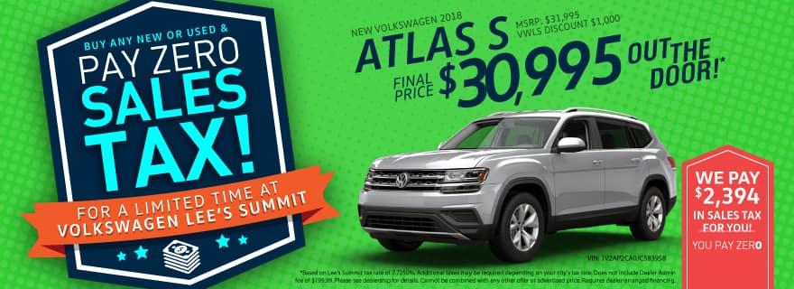 VW Lee's Summit Atlas Sale No Sales Tax