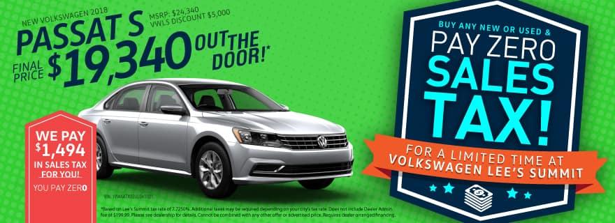 Volkswagen Lee's Summit Passat Ad No Sales Tax