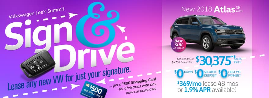 Lease an Atlas SUV for just your signature during Sign & Drive