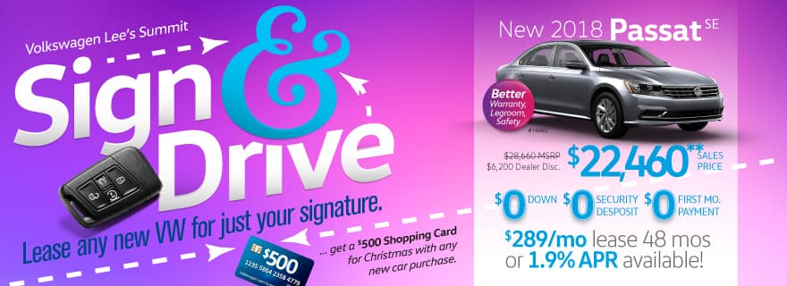 Sign & Drive a brand new Passat with zero down and zero first mos payment
