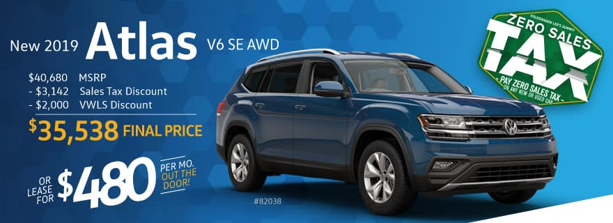 Pay ZERO sales tax on the 2019 Atlas at VW Lee's Summit