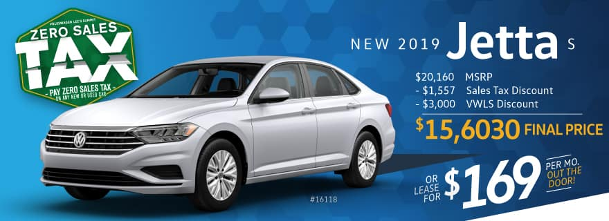 Pay ZERO sales tax on the 2019 Jetta at VW Lee's Summit