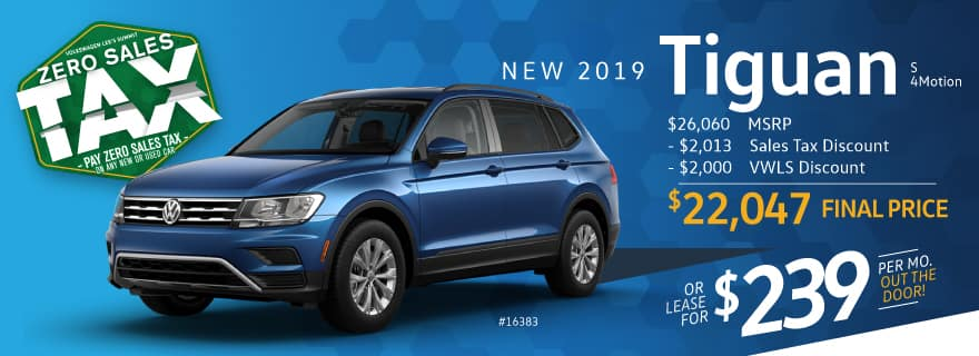 Pay ZERO sales tax on the 2019 Tiguan at VW Lee's Summit