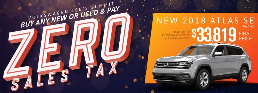 Pay Zero Sales Tax on the new Atlas at Volkswagen Lee's Summit