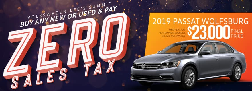 Pay Zero Sales Tax on the new 2019 Passat at Volkswagen Lee's Summit