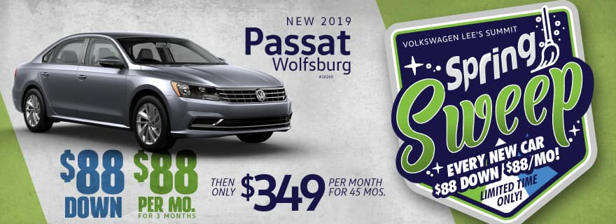 Lease a new 2019 Passat Wolfsburg for $88 down and $88/mo for first 3 mos!