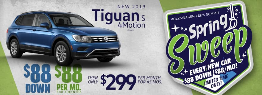 Lease the new 2019 Tiguan for $88 down and $88/mo for 3 mos!