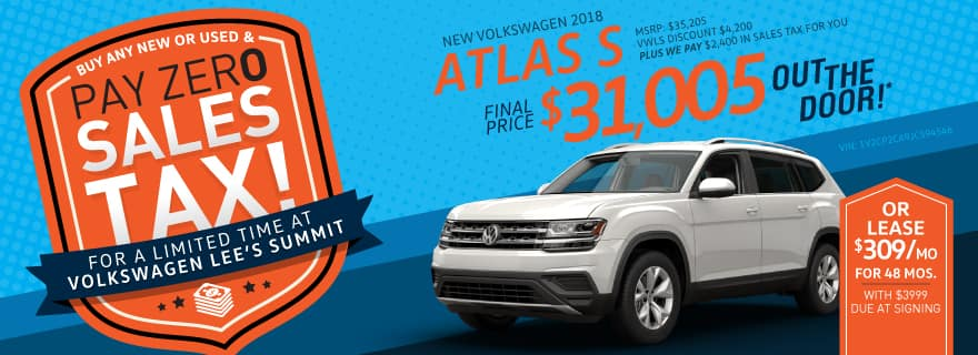 Pay Zero Sales Tax on the 2018 Atlas
