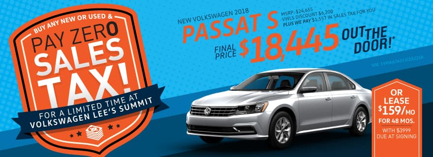 Zero Tax Special on Passat at VW Lee's Summit