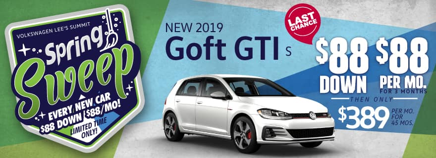 VW Lee's Summit Golf FTI $88 down Spring Sweep Sale