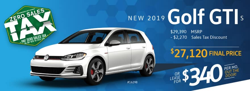 Pay ZERO sales tax on the 2019 Golf GTI at VW Lee's Summit