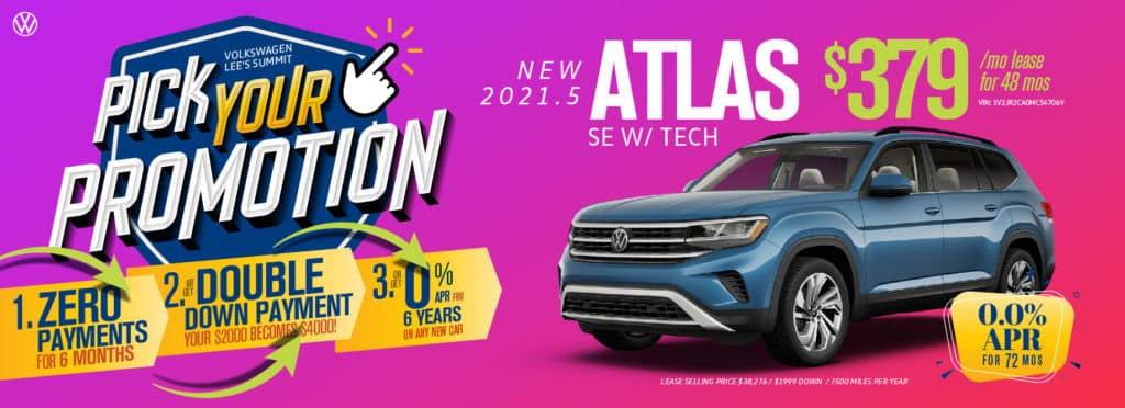 Pick your promotion at Volkswagen Lee's Summit on this Atlas SUV.