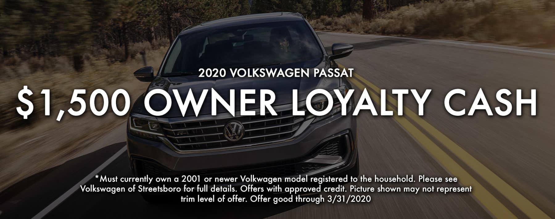 $1500 Owner Loyalty on 2020 Volkswagen Passat