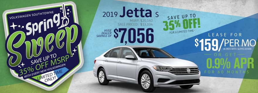 Save up to 35% off the new 2019 Jetta models at Volkswagen SouthTowne!