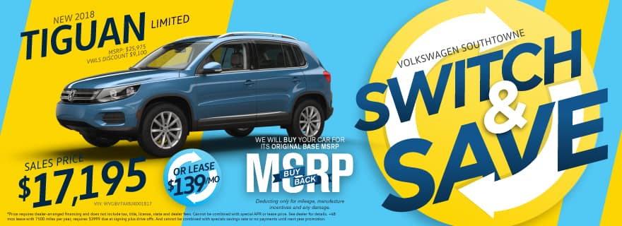 Switch and Save to the 2018 Tiguan at VW SouthTowne