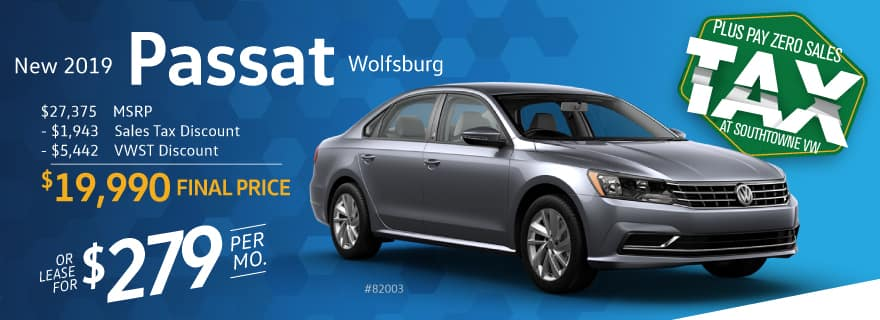 Pay Zero Sales Tax on the new Passat at Volkswagen SouthTowne