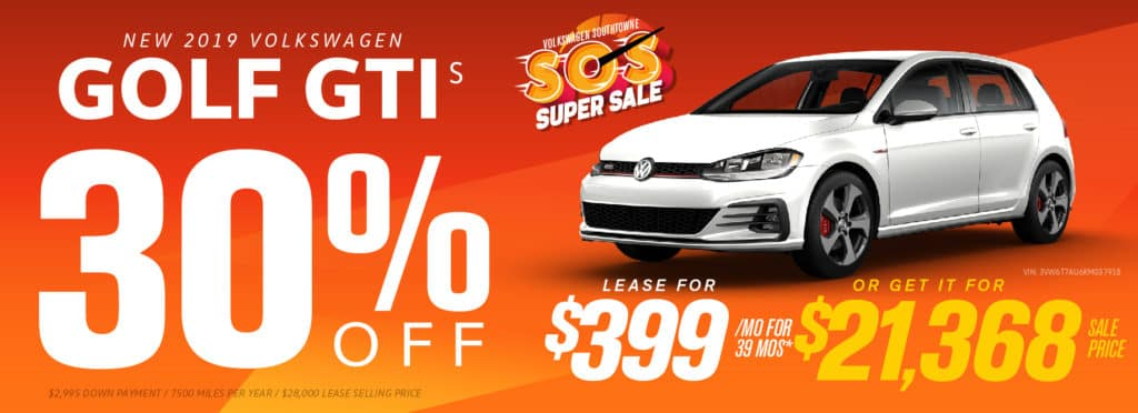 Get up to 30% off remaining 2019 Golf GTI models