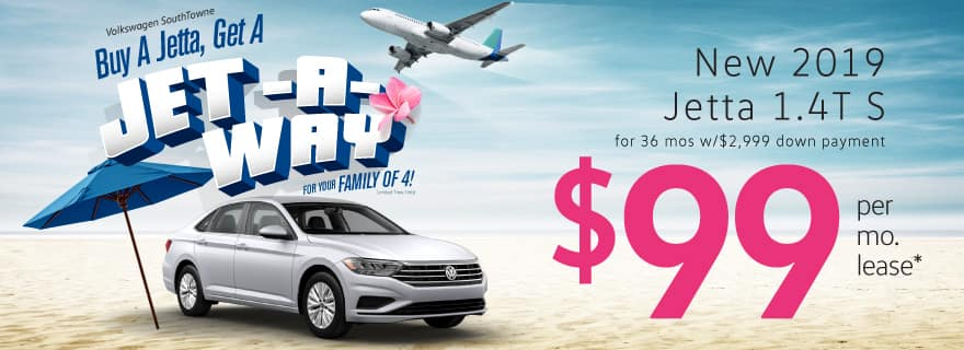 Lease the 2019 Jetta for only $99/mo! And get a Jet-a-Way!