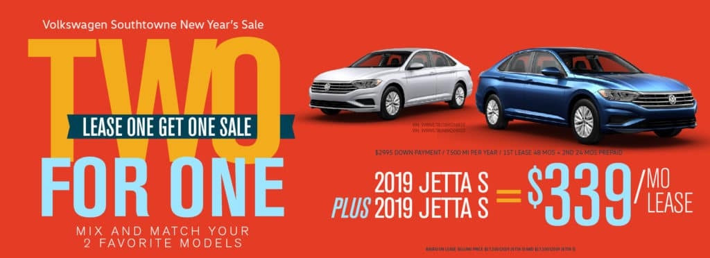 Lease One Get One at Volkswagen SouthTowne! Don't miss our famous 2 for 1 Sale!