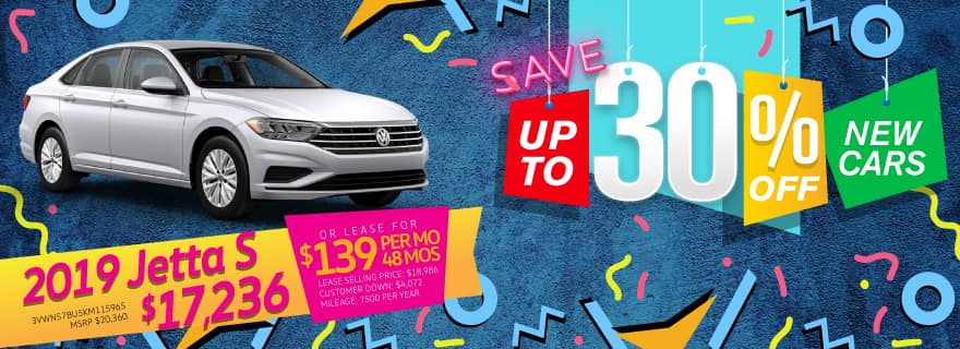 Save up to 30% off New Cars at Volkswagen SouthTowne