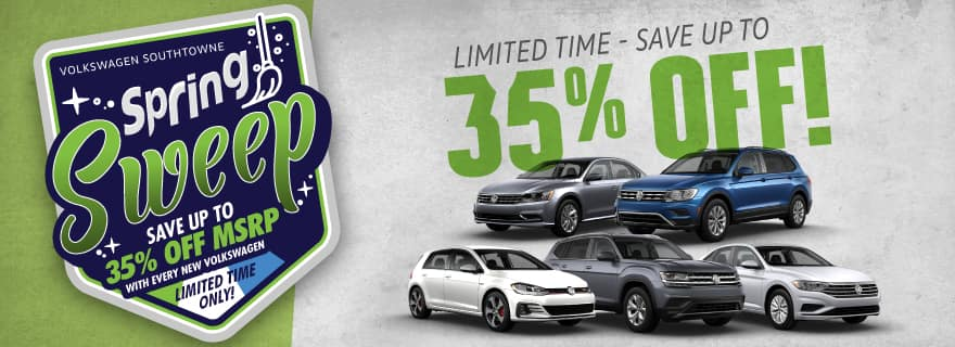 Save up to 35% off new Volkswagen models at Volkswagen SouthTowne