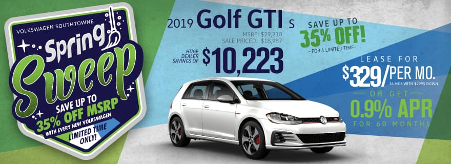 Save up to 35% off new 2019 Golf GTI models at Volkswagen SouthTowne!