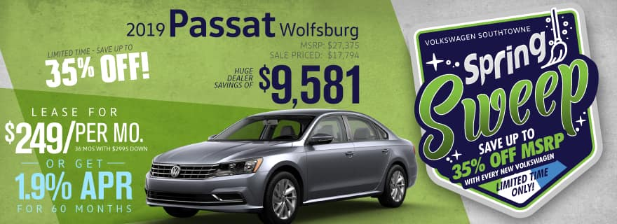 Save up to 35% off new 2019 Passat Wolfsburg models at Volkswagen SouthTowne!