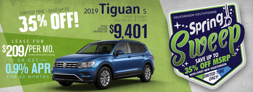 Save up to 35% off new 2019 Tiguan models at Volkswagen SouthTowne!