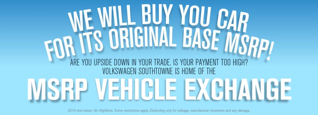 Volkswagen SouthTowne wants your car!