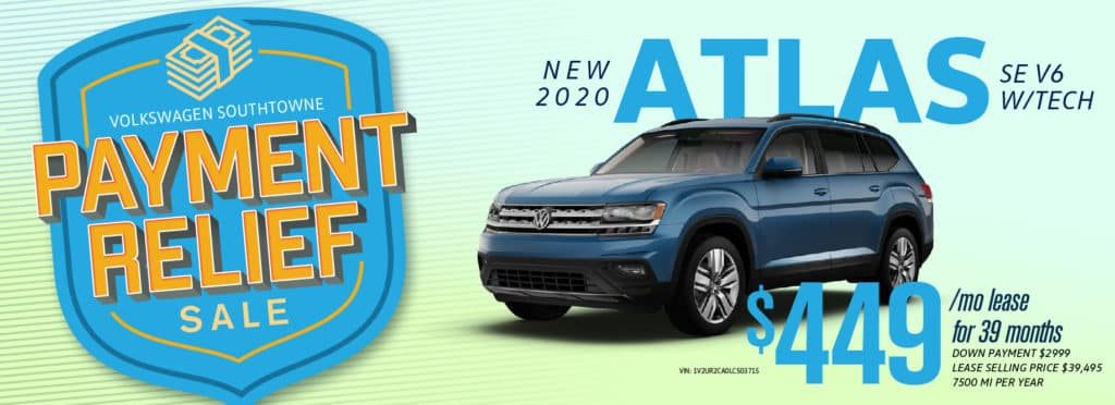 Get Payment Relief on remaining Atlas models at Volkswagen SouthTowne