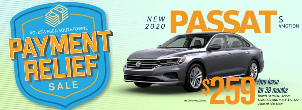 Get Payment Relief on the 2020 Passat at Volkswagen SouthTowne