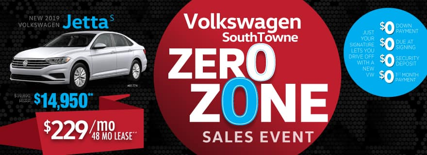 Lease the 2019 Jetta for ZERO down and ZERO first month's payment at VW SouthTowne
