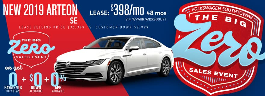 Get a new 2019 Arteon for ZERO down and ZERO Payments for 90 days.