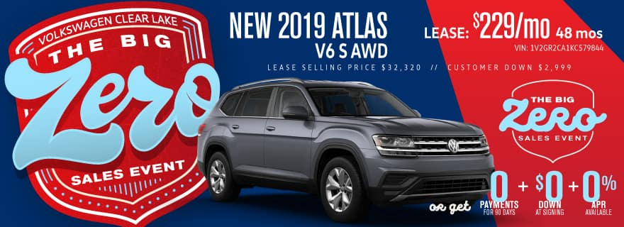 Get a new 2019 Atlas for ZERO down and ZERO Payments for 90 days.