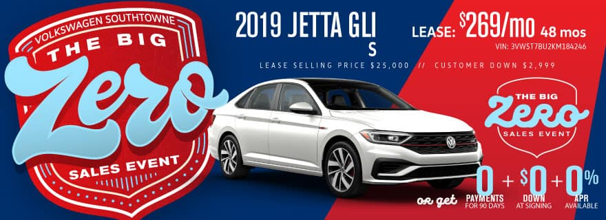 Get a new 2019 Jetta GLI S for ZERO down and ZERO Payments for 90 days.